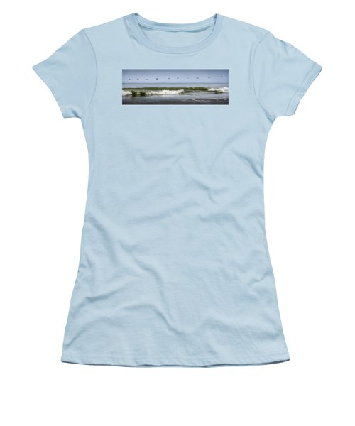 Women's T-Shirt (Athletic Fit) featuring the photograph Ten Pelicans by Steven Sparks