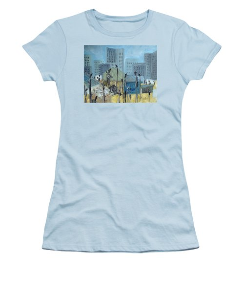 Women's T-Shirt (Junior Cut) featuring the painting Tent City Homeless by Judith Rhue