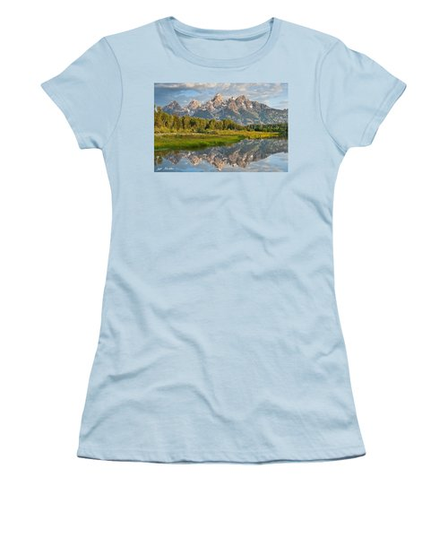 Teton Range Reflected In The Snake River Women's T-Shirt (Junior Cut) by Jeff Goulden