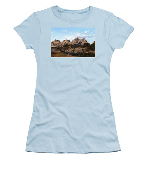 The Badlands In South Dakota Oil Painting Women's T-Shirt (Athletic Fit)