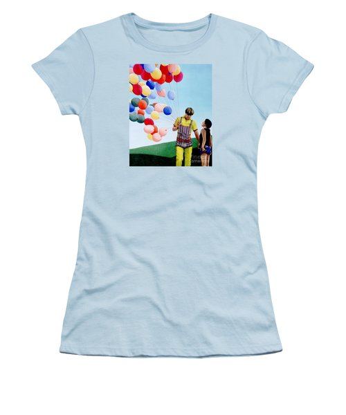 Women's T-Shirt (Junior Cut) featuring the painting The Balloon Man by Michael Swanson