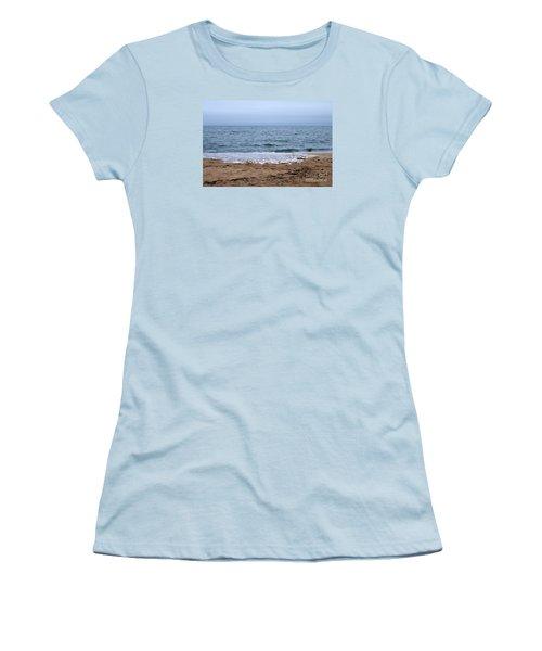 The Splash Over On A Sandy Beach Women's T-Shirt (Junior Cut) by Eunice Miller