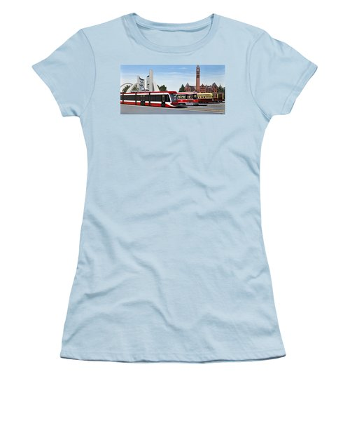 Women's T-Shirt (Junior Cut) featuring the painting The Toronto Streetcar 100 Years by Kenneth M  Kirsch