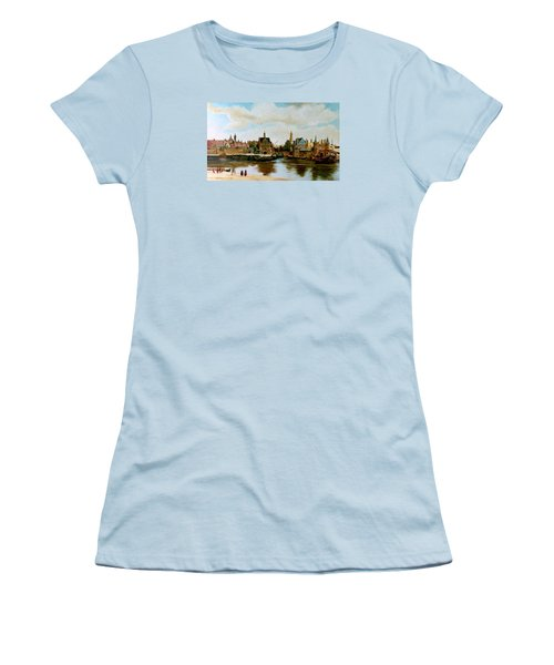 Women's T-Shirt (Junior Cut) featuring the painting The View Of Delft by Henryk Gorecki