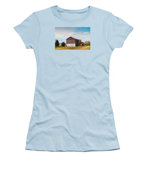 Women's T-Shirt (Junior Cut) featuring the photograph Three In One Barns by Debbie Green