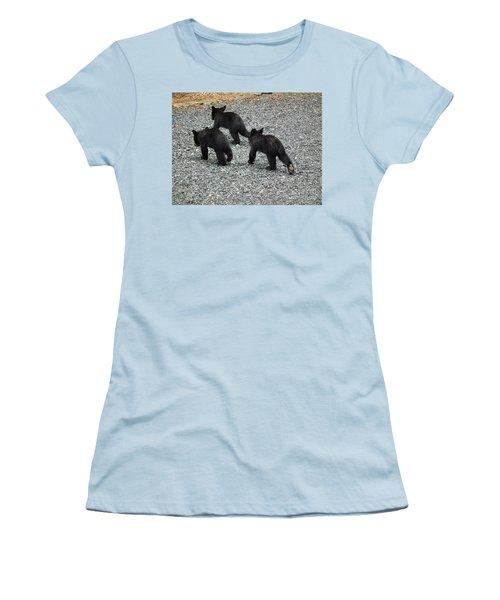 Women's T-Shirt (Junior Cut) featuring the photograph Three Little Bears In Step by Jan Dappen