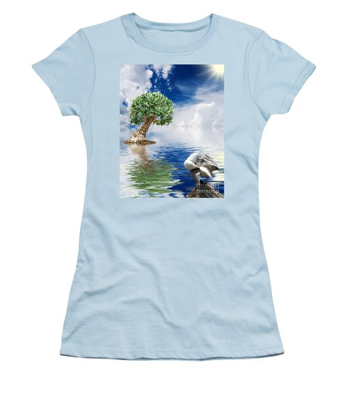 Tree Seagull And Sea Women's T-Shirt (Athletic Fit)