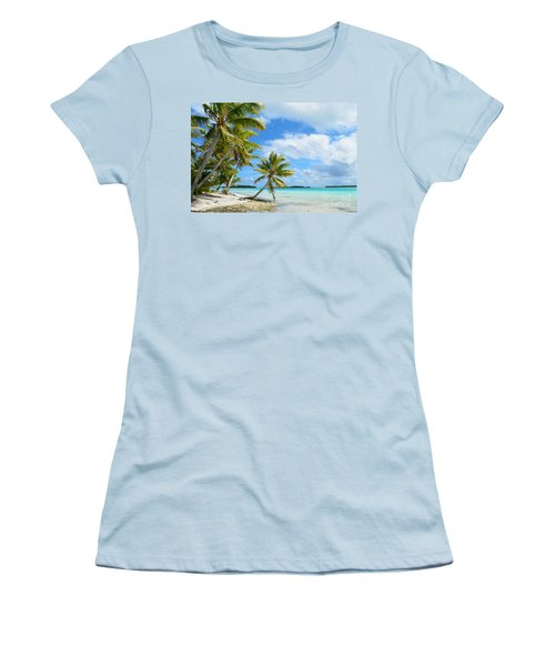 Tropical Beach With Hanging Palm Trees In The Pacific Women's T-Shirt (Junior Cut) by IPics Photography