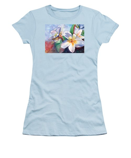 Tropical Plumeria Flowers Women's T-Shirt (Athletic Fit)
