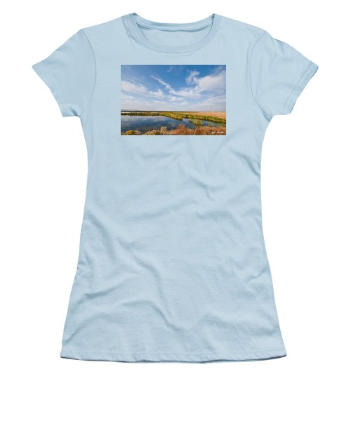 Women's T-Shirt (Junior Cut) featuring the photograph Tule Lake Marshland by Jeff Goulden