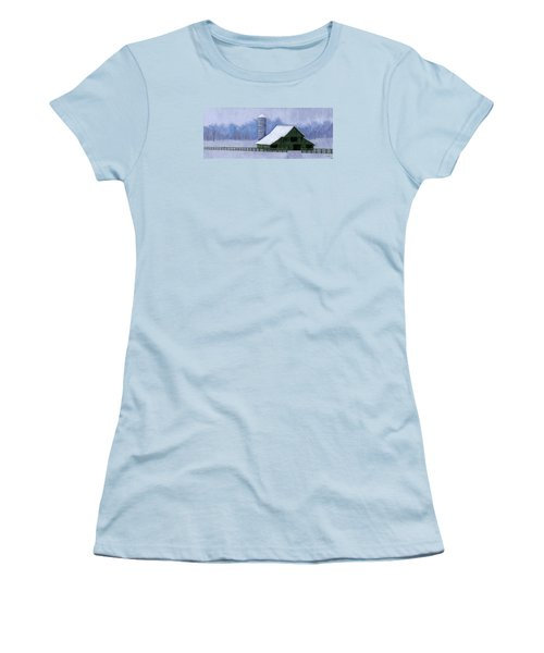 Women's T-Shirt (Junior Cut) featuring the painting Turner Barn In Brentwood by Janet King