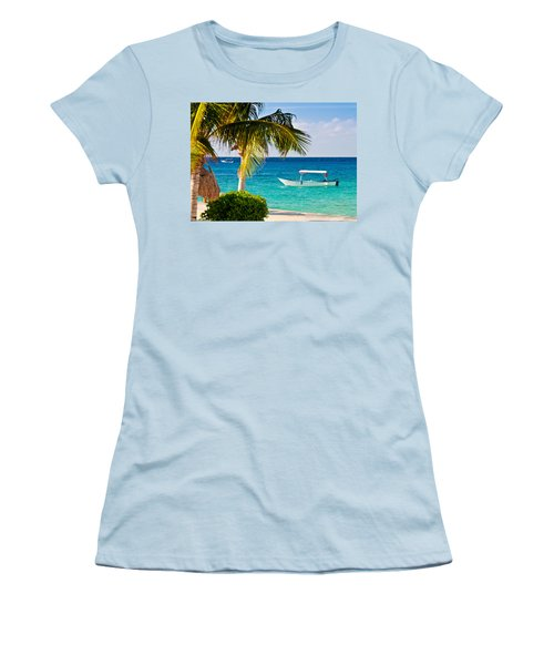 Women's T-Shirt (Junior Cut) featuring the photograph Turquoise Waters In Cozumel by Mitchell R Grosky
