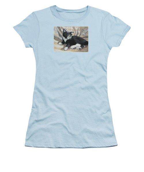 Women's T-Shirt (Junior Cut) featuring the painting Tuxedo Kitten by Jeanne Fischer