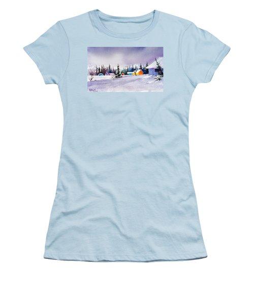 Women's T-Shirt (Junior Cut) featuring the painting Tyonek Village Impression by Teresa Ascone