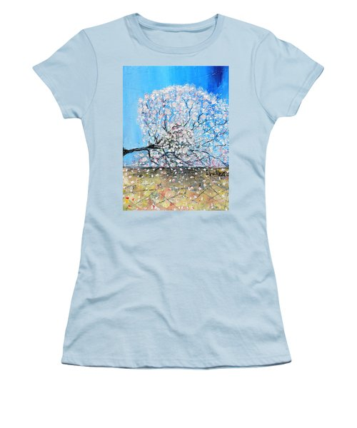 Women's T-Shirt (Junior Cut) featuring the painting Unstable Position by Evelina Popilian