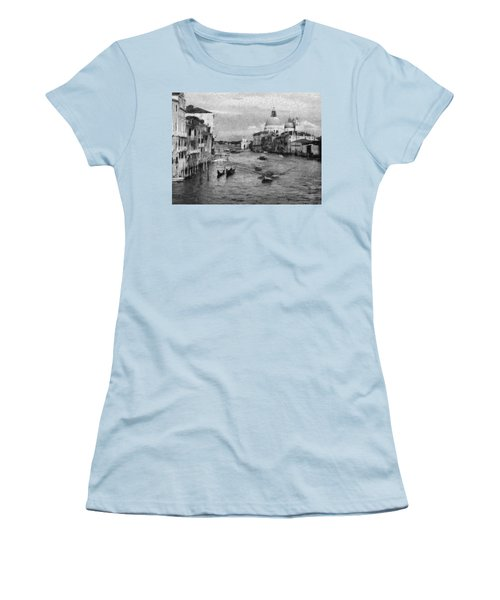 Women's T-Shirt (Junior Cut) featuring the painting Vintage Venice Black And White by Georgi Dimitrov