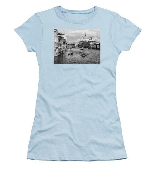 Vintage Venice Black And White Women's T-Shirt (Junior Cut) by Georgi Dimitrov
