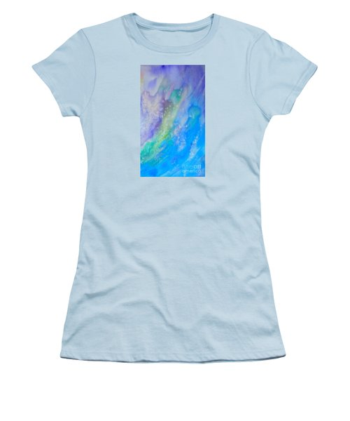 Women's T-Shirt (Junior Cut) featuring the painting Vetical Ocean Waves by Justin Moore