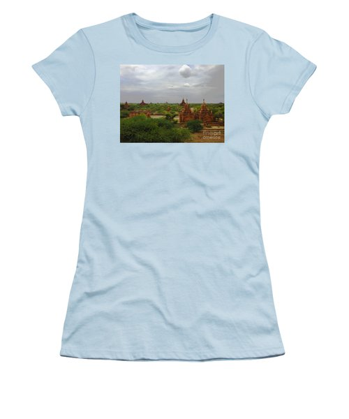 Women's T-Shirt (Junior Cut) featuring the photograph View Of Smaller Temples Next To Dhammayazika Pagoda Built In 1196 By King Narapatisithu Bagan Burma by Ralph A  Ledergerber-Photography