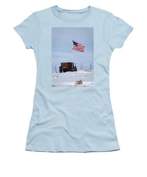 Wagon And Flag Women's T-Shirt (Athletic Fit)