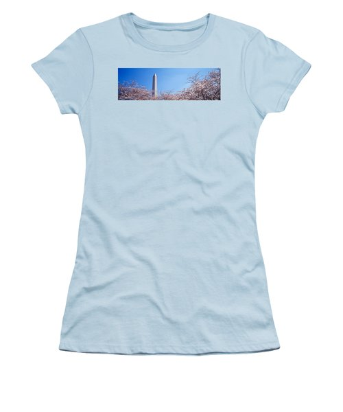 Washington Monument Behind Cherry Women's T-Shirt (Junior Cut) by Panoramic Images