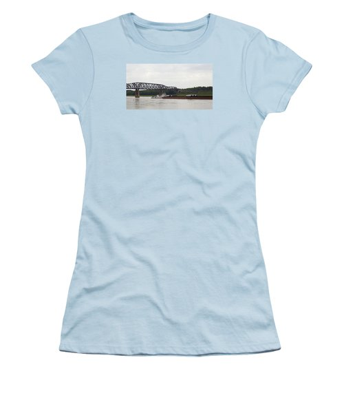 Women's T-Shirt (Junior Cut) featuring the photograph Water Under The Bridge - Towboat On The Mississippi by Jane Eleanor Nicholas