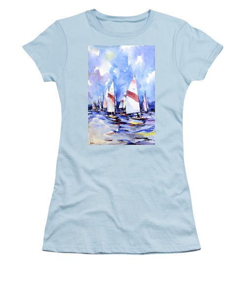 Watercolor Of Scow Boats Racing Torch Lake Mi Women's T-Shirt (Athletic Fit)