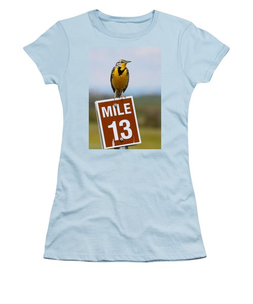 Western Meadowlark On The Mile 13 Sign Women's T-Shirt (Junior Cut) by Karon Melillo DeVega