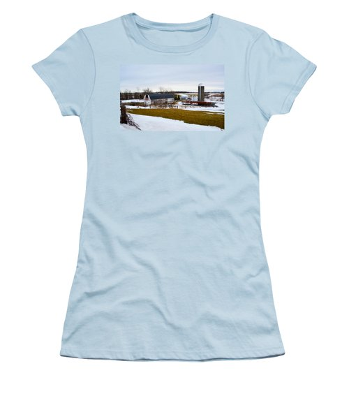 Western New York Farm As An Oil Painting Women's T-Shirt (Athletic Fit)