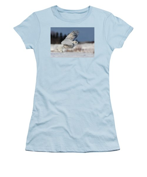 White Angel - Snowy Owl In Flight Women's T-Shirt (Junior Cut) by Mircea Costina Photography