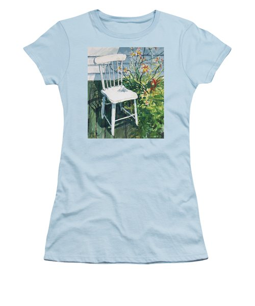 White Chair And Day Lilies Women's T-Shirt (Junior Cut) by Joy Nichols