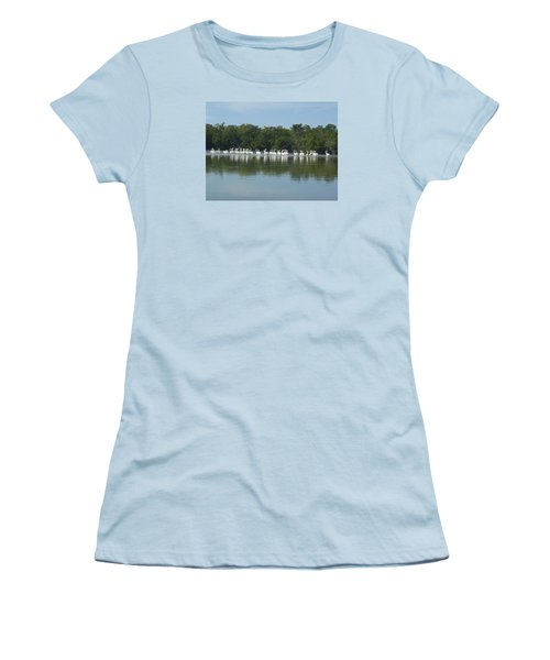 Women's T-Shirt (Junior Cut) featuring the photograph White Pelicans by Robert Nickologianis