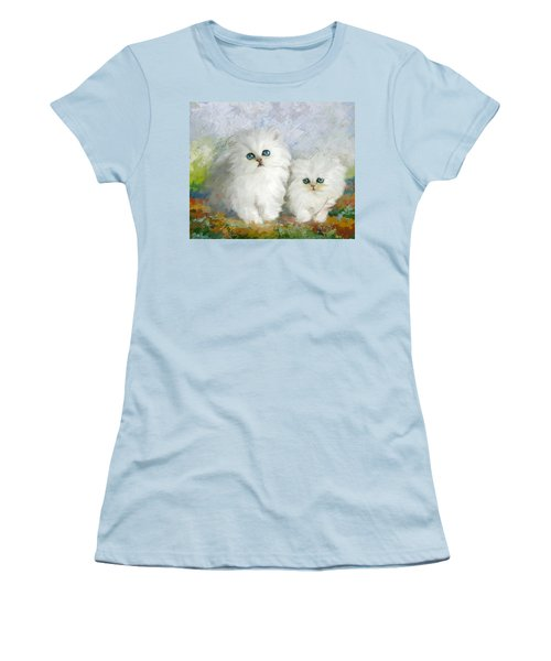 White Persian Kittens  Women's T-Shirt (Athletic Fit)