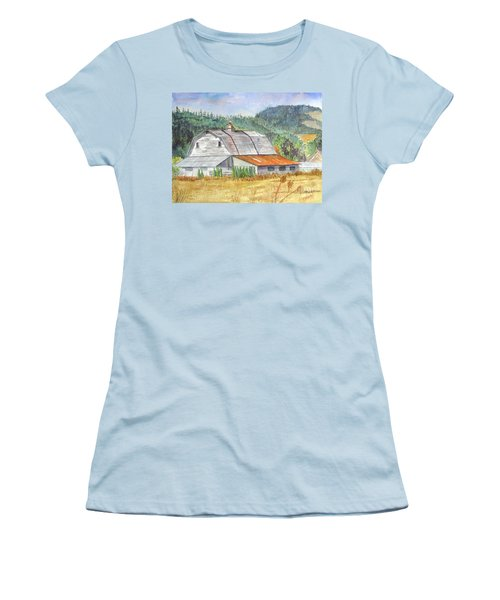 Women's T-Shirt (Junior Cut) featuring the painting Willamette Valley Barn by Carol Flagg