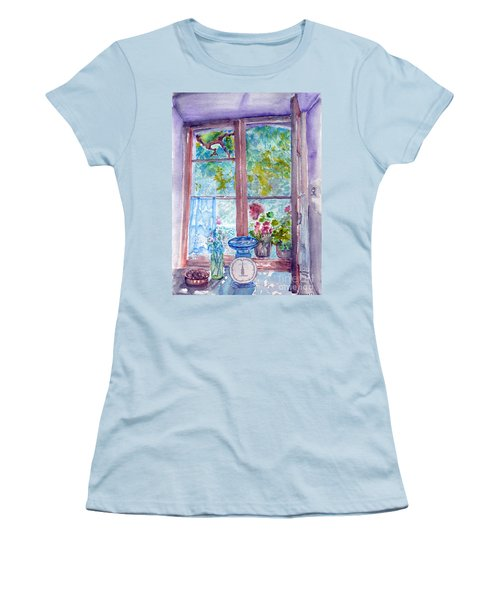 Women's T-Shirt (Junior Cut) featuring the painting Window by Jasna Dragun
