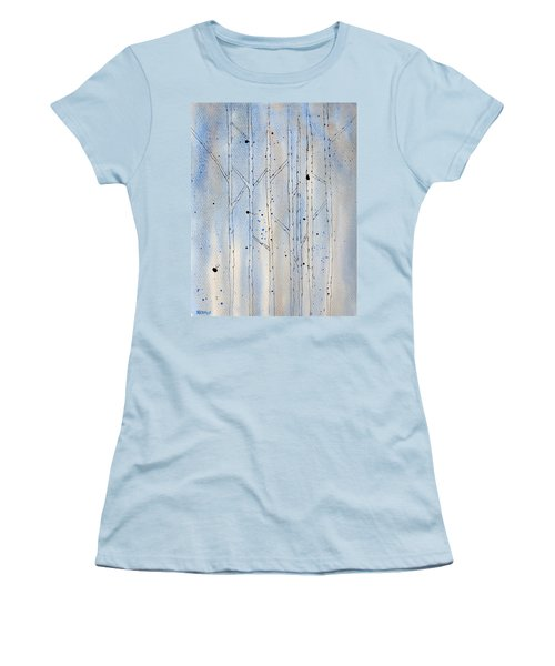 Women's T-Shirt (Junior Cut) featuring the painting Winter Abstract by Rebecca Davis