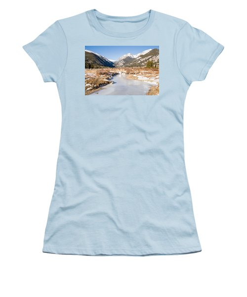Winter At Horseshoe Park In Rocky Mountain National Park Women's T-Shirt (Athletic Fit)