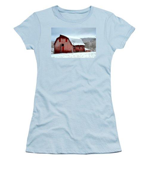 Women's T-Shirt (Junior Cut) featuring the photograph Winter Barn by Deena Stoddard