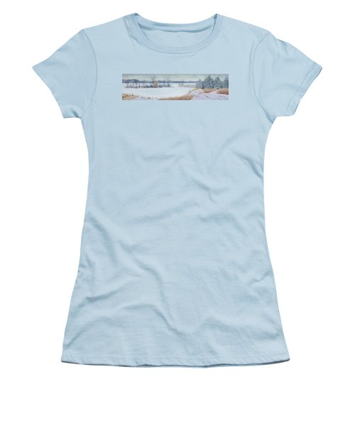 Winter Lake And Cedars Women's T-Shirt (Athletic Fit)