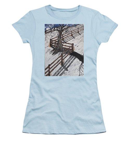 Winter Moon Shadow Women's T-Shirt (Junior Cut) by Jeffrey Koss