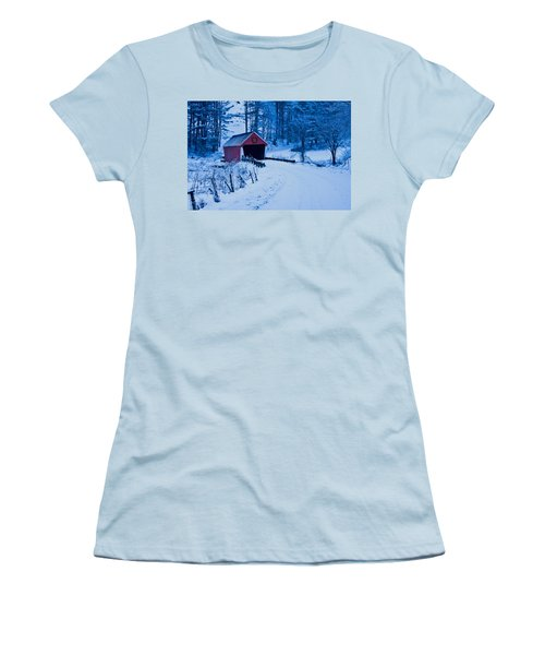 winter Vermont covered bridge Women's T-Shirt (Athletic Fit)