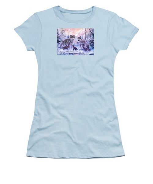 Winter Wolf Family  Women's T-Shirt (Junior Cut) by Jan Patrik Krasny