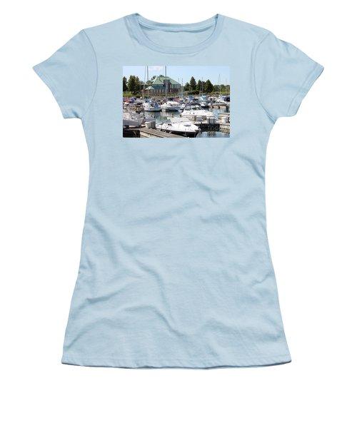 Women's T-Shirt (Junior Cut) featuring the photograph Winthrop Harbor by Debbie Hart