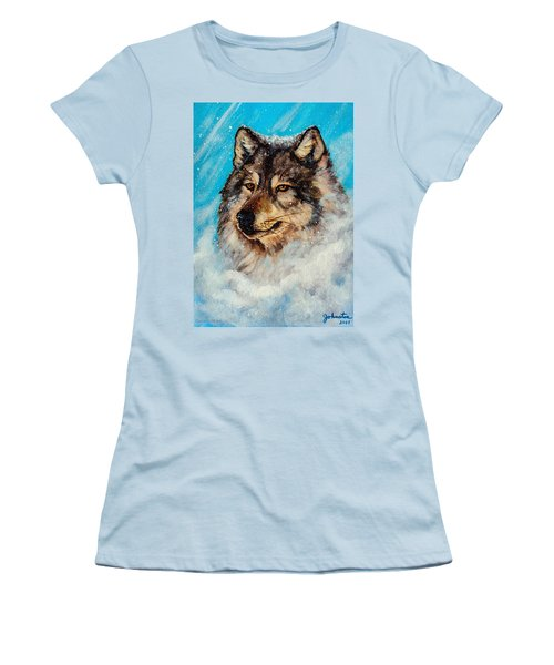 Women's T-Shirt (Junior Cut) featuring the painting Wolf In A Snow Storm by Bob and Nadine Johnston