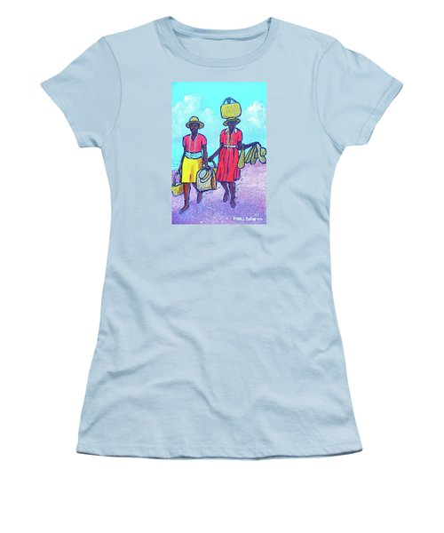 Women On Beach At Grenada Women's T-Shirt (Junior Cut) by Frank Hunter