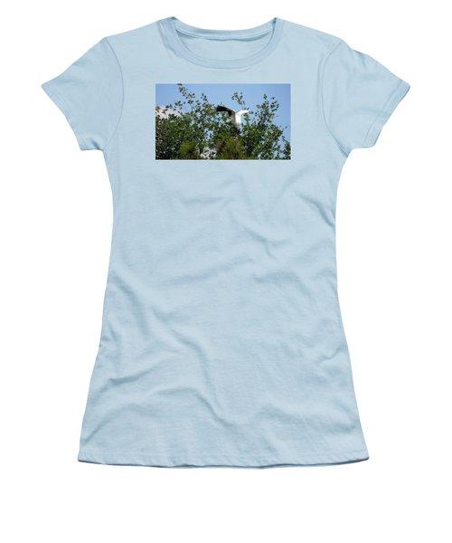 Women's T-Shirt (Junior Cut) featuring the photograph Wood Stork by Ron Davidson