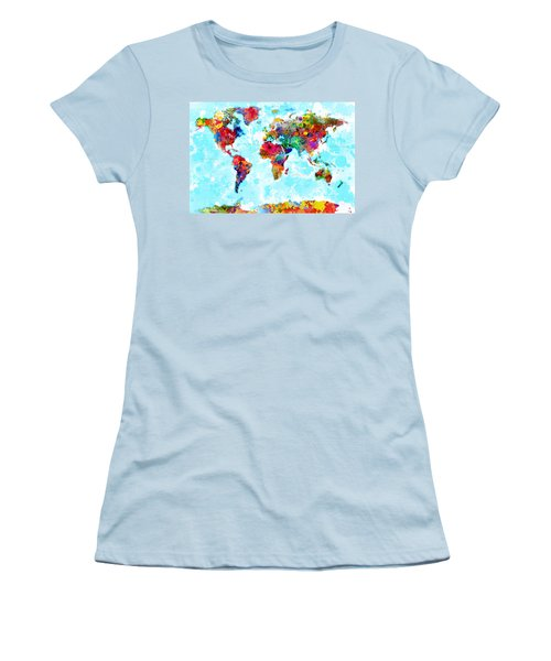 World Map Spattered Paint Women's T-Shirt (Athletic Fit)
