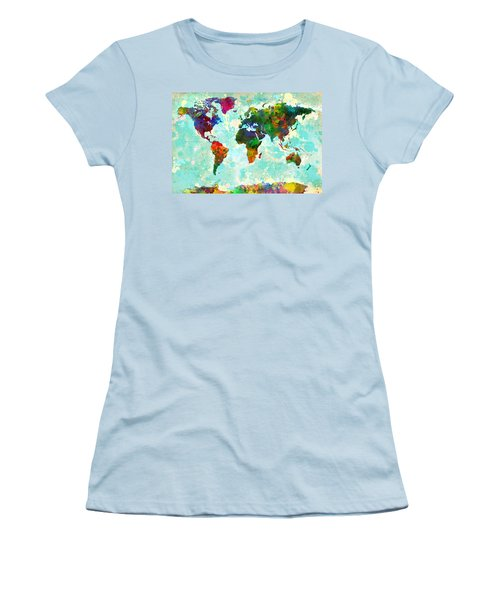 World Map Splatter Design Women's T-Shirt (Athletic Fit)