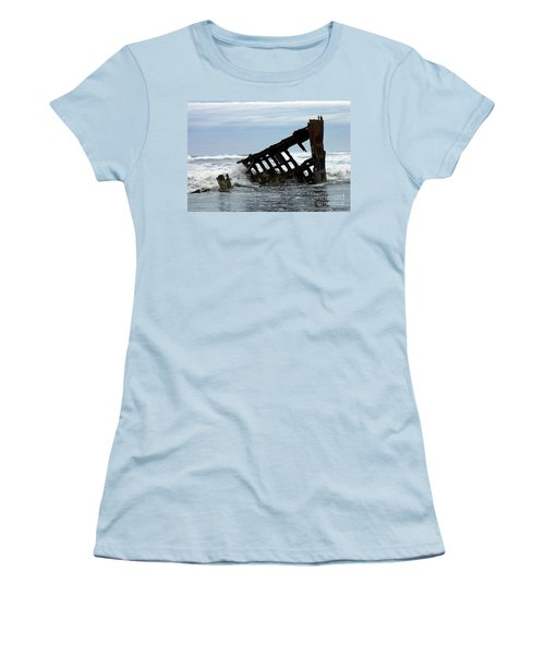 Women's T-Shirt (Junior Cut) featuring the photograph Wreck Of The Peter Iredale by Chalet Roome-Rigdon