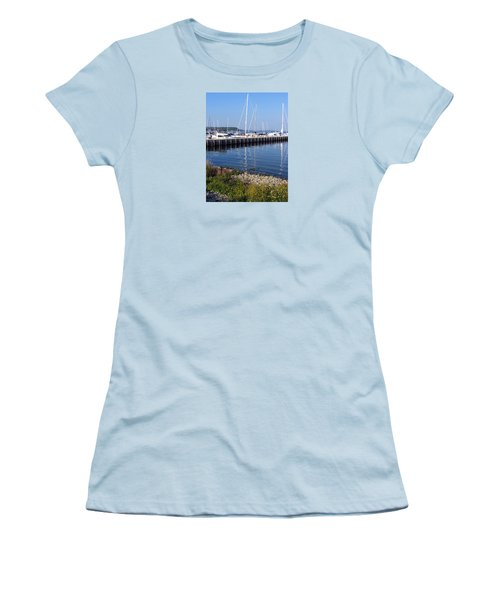 Yachtworks Marina Sister Bay Women's T-Shirt (Junior Cut) by David T Wilkinson